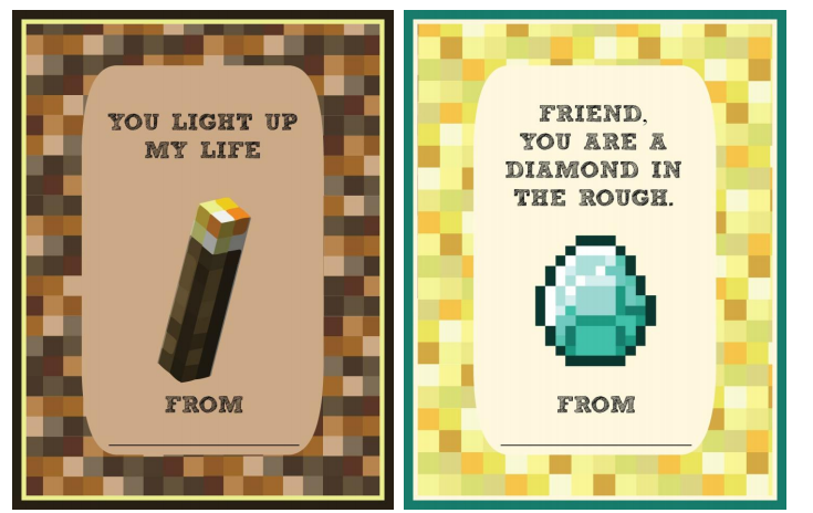 5 printable Minecraft Valentine cards for the classroom