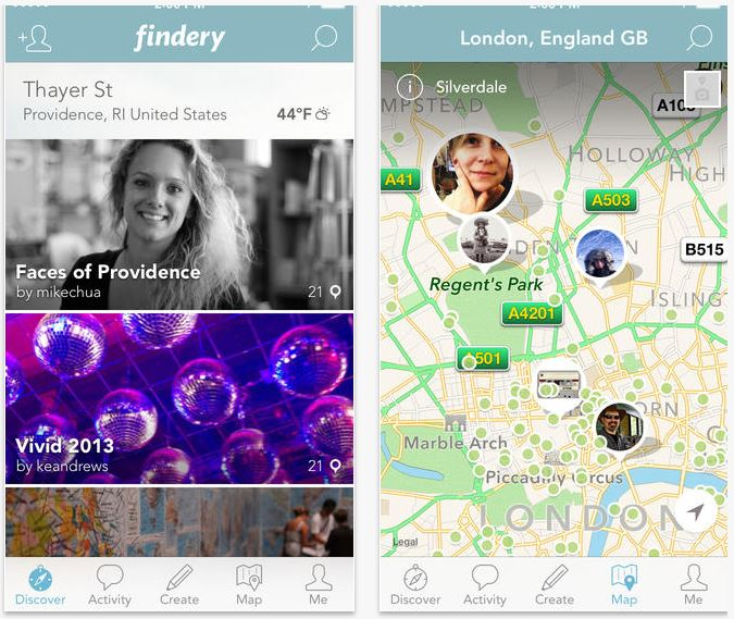 Findery app: Discovering a personal journal about locales around the world