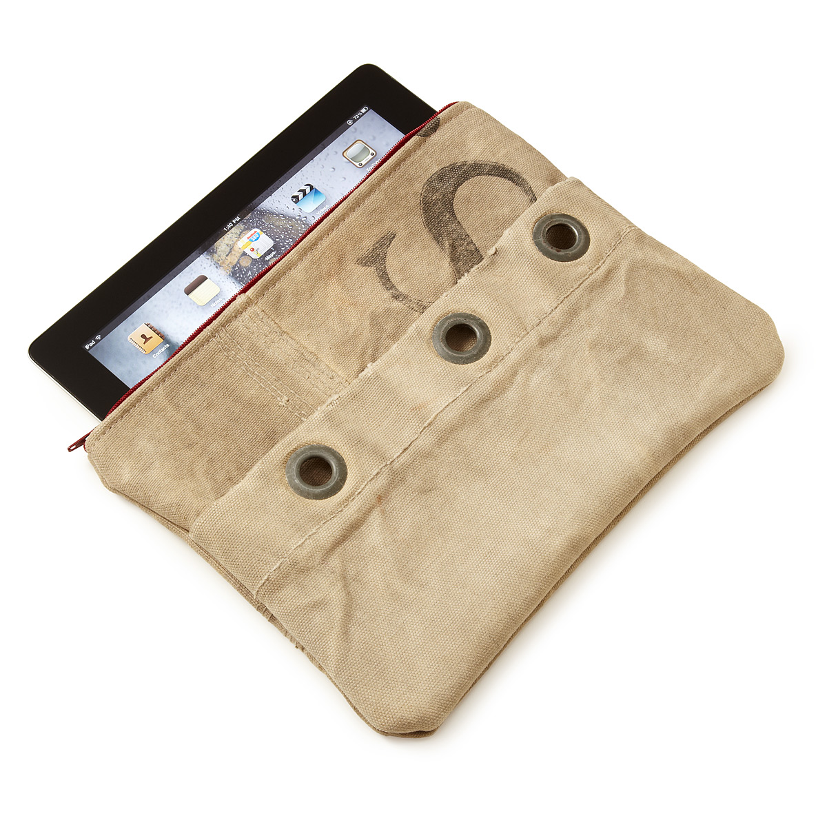 An upcycled iPad case salvaged from the snail mail era.