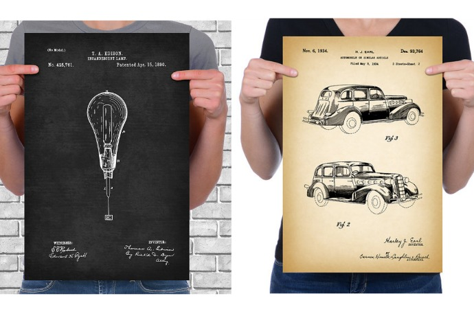 Vintage patent drawings take artistic geekery to old heights