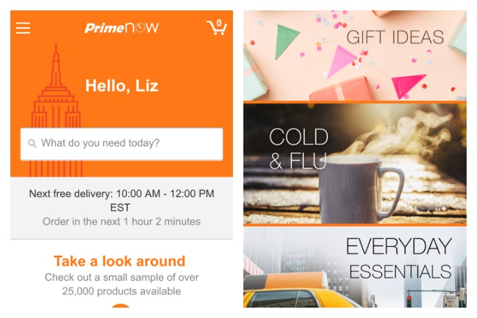 An overview of the Amazon Prime Now app. Should you need baby wipes or a fishnet body suit delivered in the next two hours.