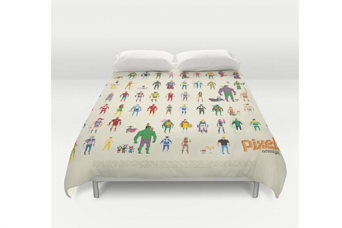 Superheroes sleep in an 8 bit bed
