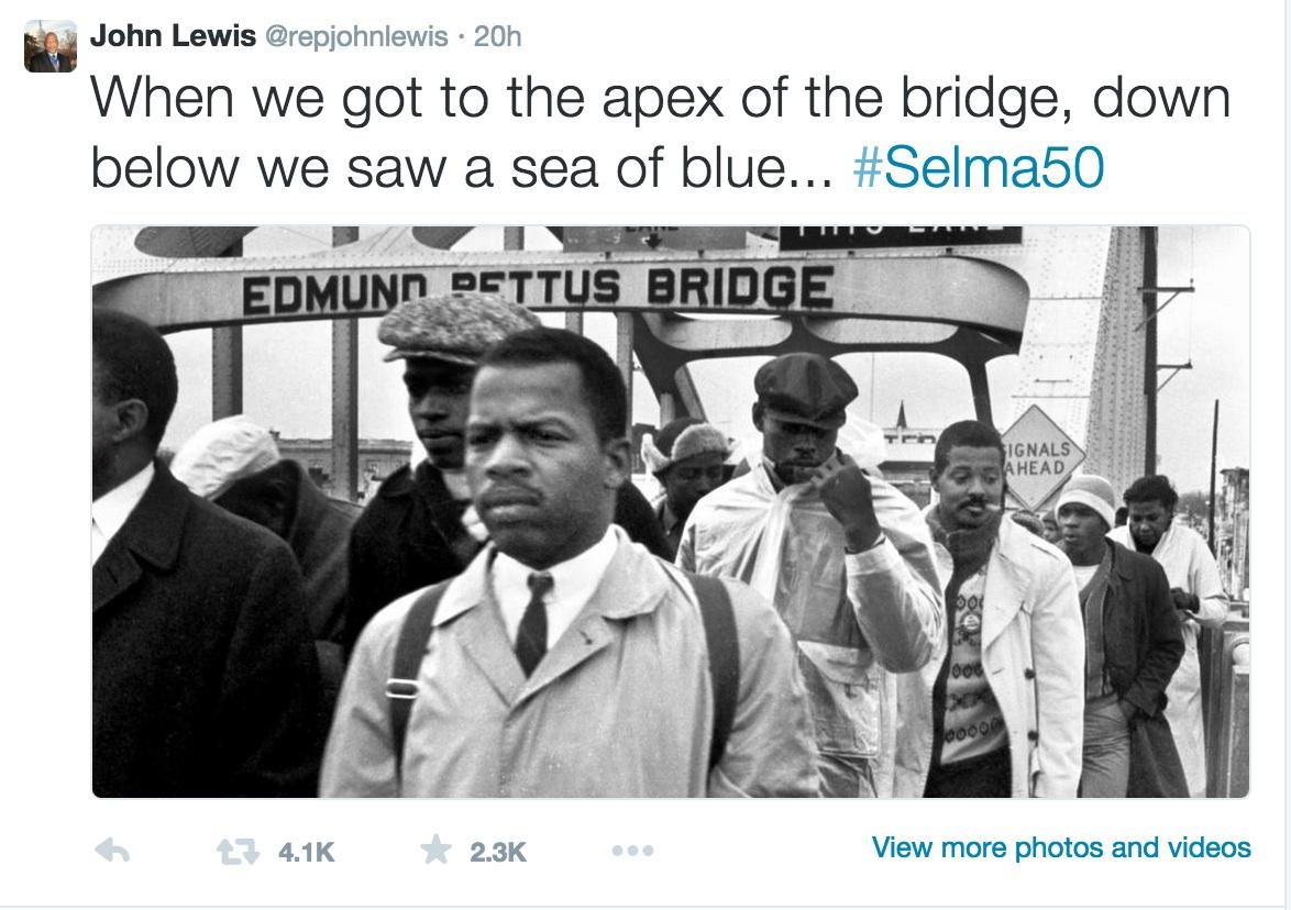 Explaining #selma50 to kids with Congressman John Lewis's own Twitter feed