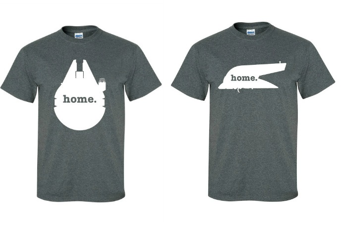 Star Wars Home t-shirts: Because for Jedis – or smugglers – home is where your ship is