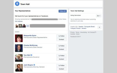Thanks to Facebook Townhall, you can now contact your congresspeople through… Facebook