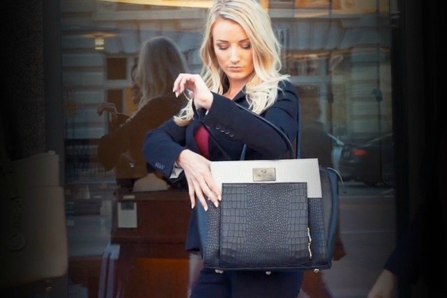 A smart handbag you unlock with a fingerprint? Want!