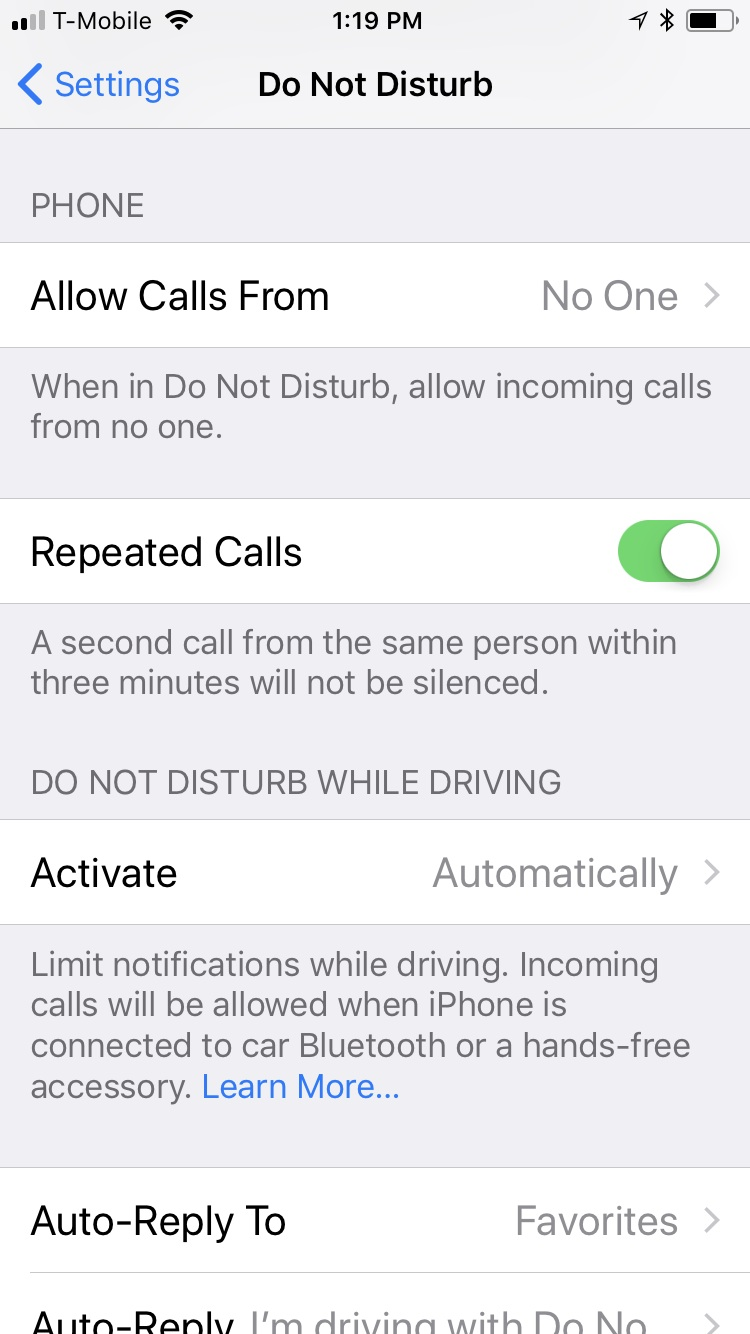 How to set up Do No Disturb While Driving on iOS 11