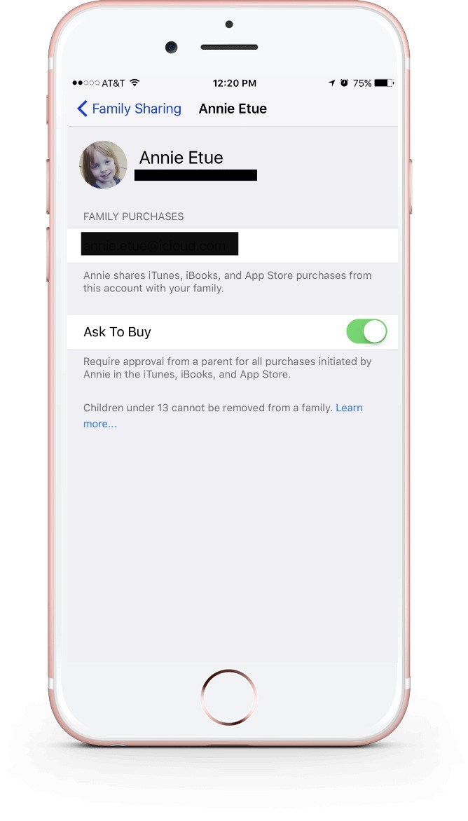 How to turn on Ask to Buy, by accessing your Family Sharing page