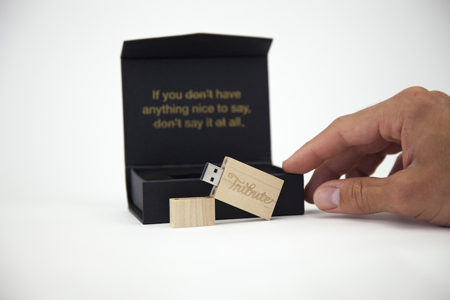 Tribute.co's sentimental video message on bamboo USB