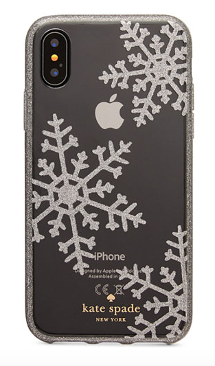 Holiday iPhone Cases: Kate Spade Glitter Snowflakes | 2017 Holiday Tech Gift Guide