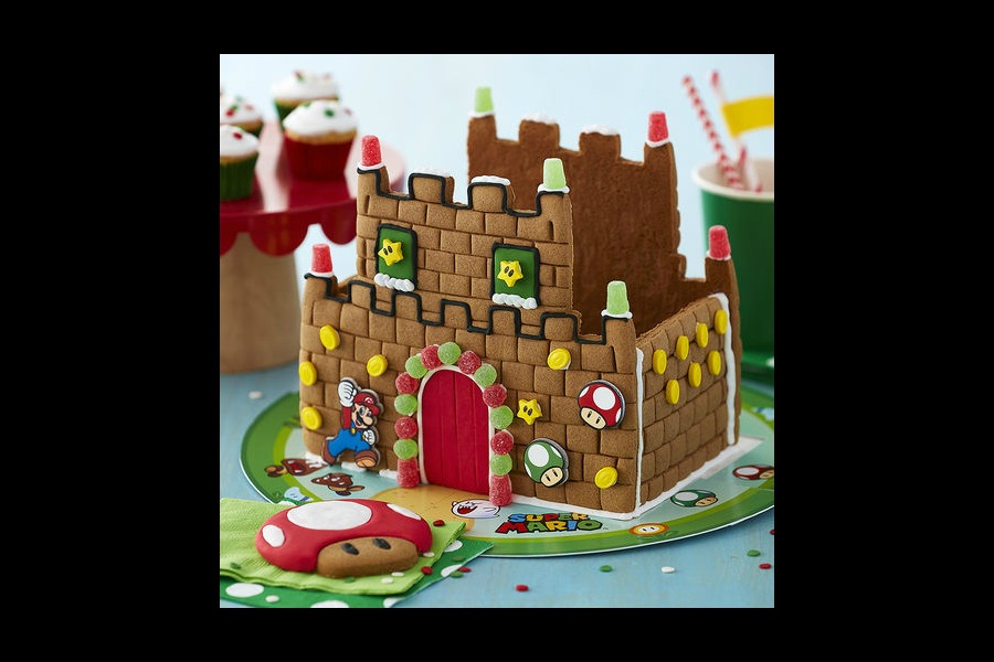 A Super Mario gingerbread house. Wahoo!