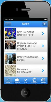 What's on your bucket list? iWish helps organize dreams for iPhone and Android users