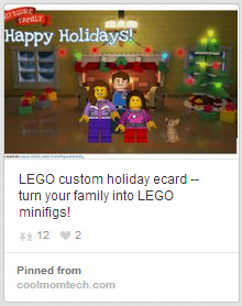 LEGO Custom Holiday Card Pin from Cool Mom Tech