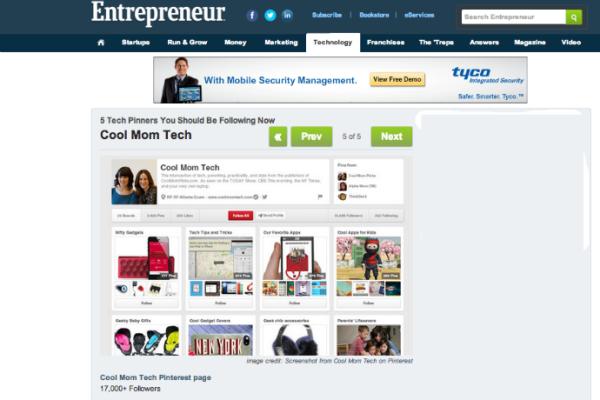 Entrepreneur Top Tech Pinterest Pinners | Cool Mom Tech