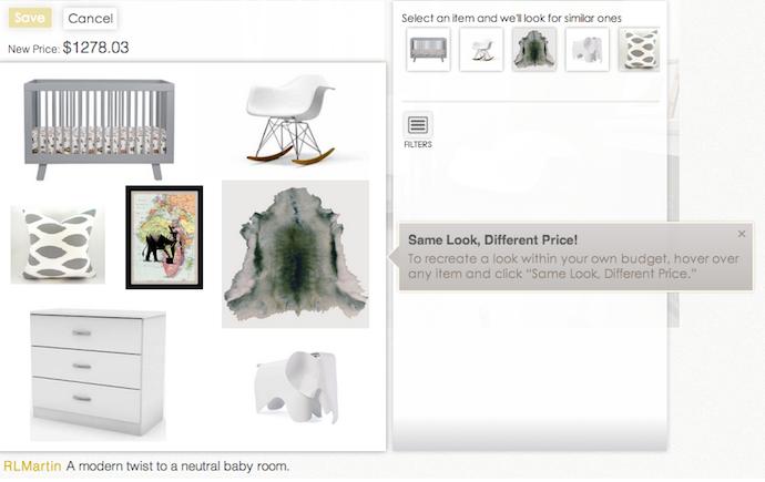 nousDECOR interior design site: same look, different price