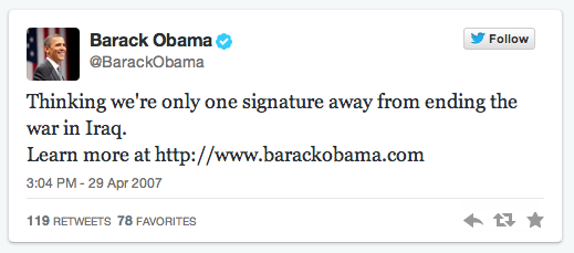 Barack Obama first tweet