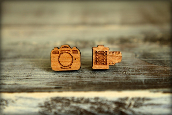 Cool geeky jewelry: camera and film wooden stud earrings | cool mom tech
