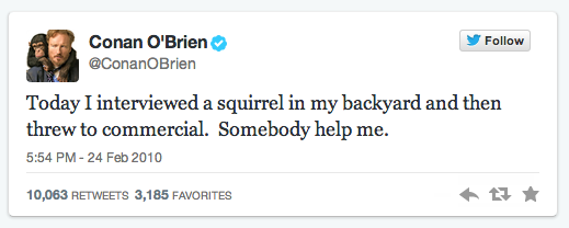 Conan O'Brien first tweet