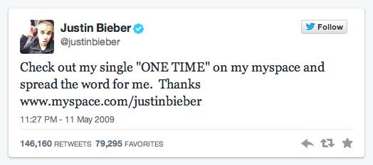 Justin Bieber first tweet