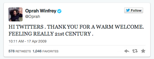 Oprah first tweet
