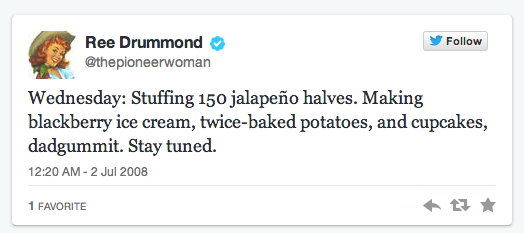 Ree Drummond First Tweet