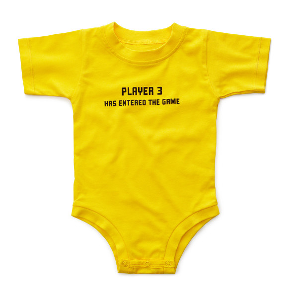 Baby gift for gamers: Player 3 onesie via Cool Mom Tech: Player 3 gamer onesie