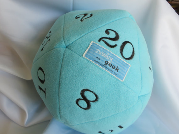 Geeky baby gift: Plush d20 die clutch ball