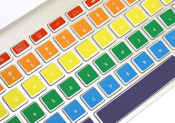 Rainbow Macbook keyboard decals from Keycals