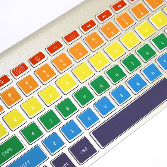 Rainbow Macbook keyboard decals from Keycals