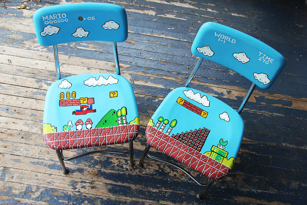 Super Mario Brothers hand painted chairs on Cool Mom Tech