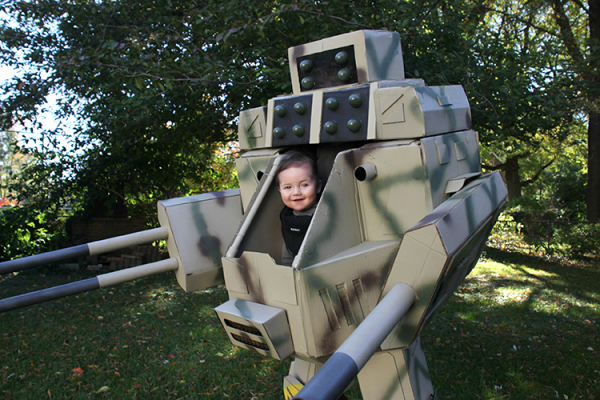 DIY Mechwarrior Halloween costume for a babywearing geeky parent