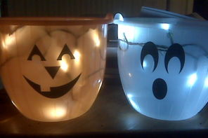 A DIY light up Halloween bucket: Because you need both hands free to scoop up all that candy.