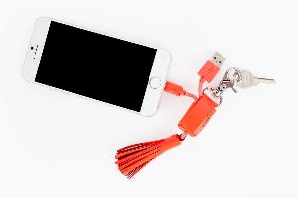 Charging keychain for the stylish tech lover