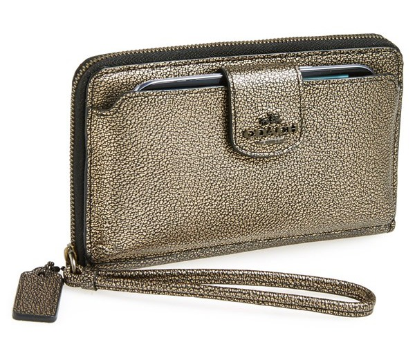 Metallic Coach smart phone wristlet is at the top of our holiday wish list