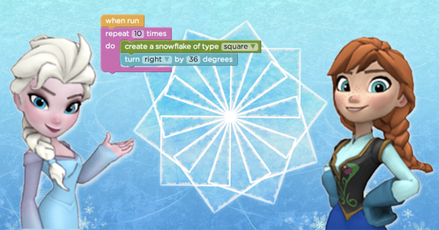 Frozen's Elsa and Anna, now teaching kids to code. (Barbie who?)