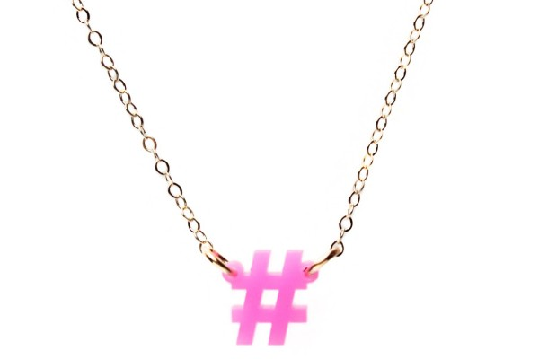 Mini Social Hashtag necklace makes the perfect, affordable holiday gift