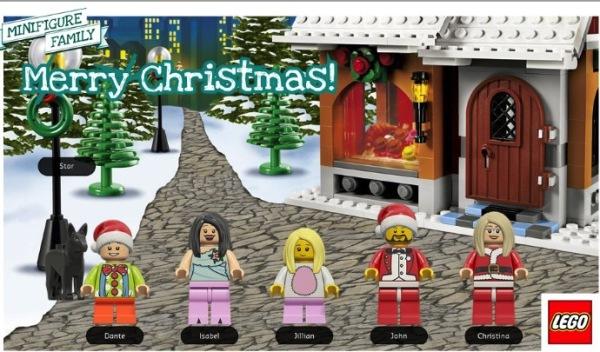 LEGO minifigure family holiday postcard