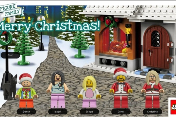 LEGO minifigure family holiday postcard