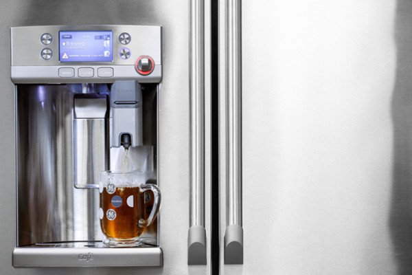 A Keurig coffee maker built into the new GE Cafe French refrigerator