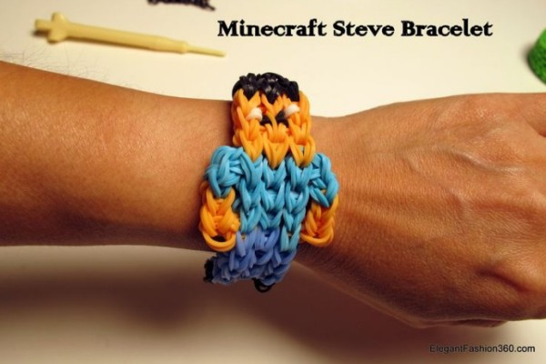 DIY Minecraft Steve rainbow loom