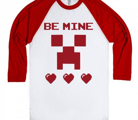 Minecraft Valentine's Day tee for kids