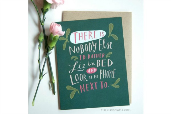 Funny valentine's day cards for tech lovers, like this hilarious one by Emily McDowell