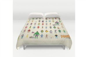 Superheroes sleep in an 8 bit bed