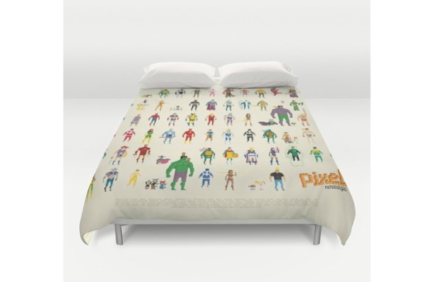 This cool duvet cover from Society6 features pixelated superheroes.