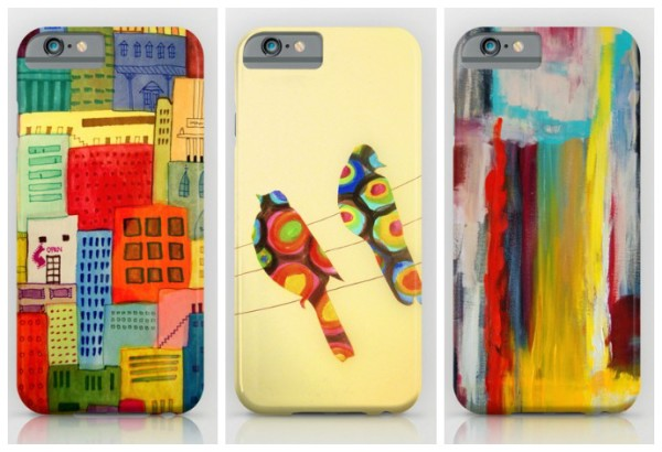 Colorful iPhone and Galaxy cases for spring by artist Sophie Demers