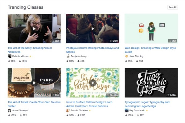 Skillshare offers cool online classes you can take whenever you want