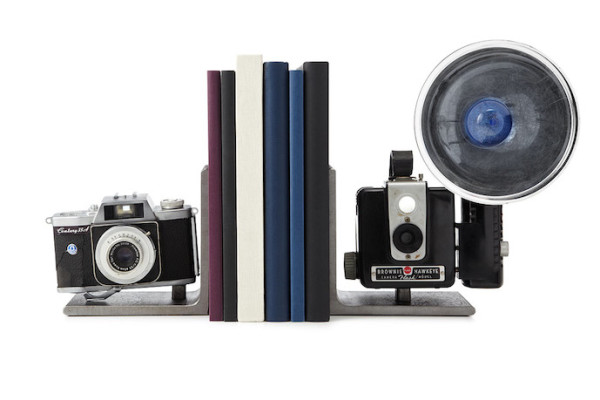 Vintage Camera Bookends by artist Breck Armstrong