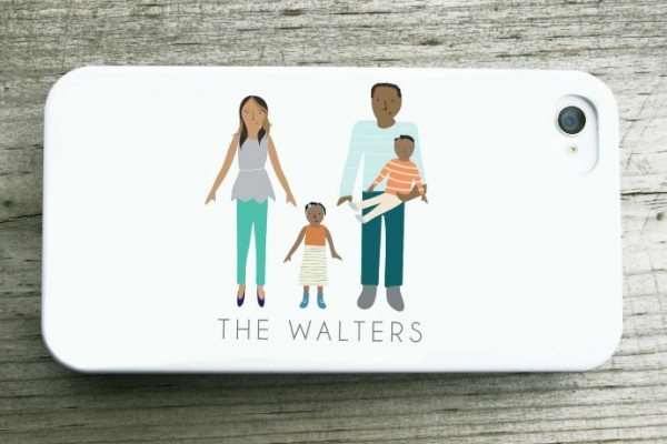 Custom iPhone case printed with a personalized family portrait. Perfect for Mother's Day!