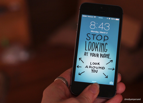 Funny iPhone wallpapers from Molly McLeod encourage people to look up from their phones