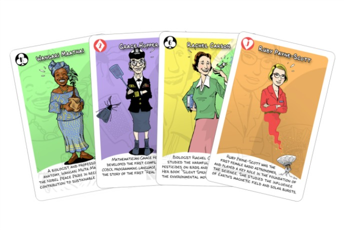 A card game that teaches kids about women in science. So basically, our kind of card game.